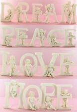 Peace Cherub Angel Word Sign Letters Ornament Memorial Shabby White Chic 6cm New