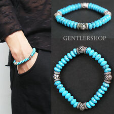 Mens Fashion Aqua Blue Beaded 3D Steel Beads Bracelet - 58 , GENTLERSHOP