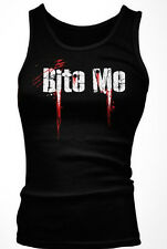 Bite Me Hot Vampire Teeth Blood Funny Bitchy Rude Mean Funny Boy Beater Tank Top