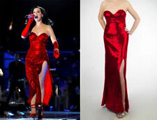 Celebrity Red Sequins Strapless Evening Prom High Split Women Lady Dress