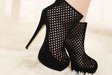 NEW Women's Hollow Out Super High Heels Platform Zip Nighting Shoes Party Pumps