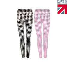 Ladies Womens Dogtooth Print Hip Band Retro Stretch High Waisted Leggings 8-14