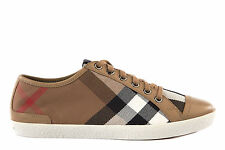 BURBERRY WOMEN'S SHOES TRAINERS SNEAKERS NEW VINTAGE HAUSECHECK BROWN  2A8