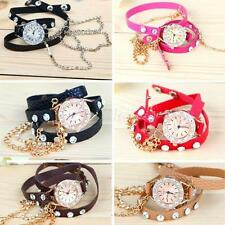 New Fashion Rhinestone Sling Chain Bracelet Watch Quartz Wrist Watch Girl EVHG