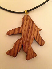 HAND CRAFTED - WOODEN BIGFOOT - NECKLACE - PENDANT- OAK - SASQUATCH