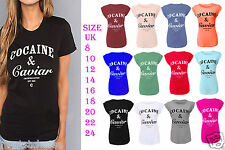 New Ladies Cocaine and Caviar Print Turn Up Cap Sleeve Womens T-Shirt UK 8-24