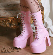 "Gothic Punk Chunky 6"" Heel Platform Laceup Calf Faux Leather Boot Pink White Red"