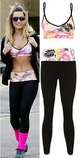Ladies Sam Faiers Floral Bra And High Waisted Leggings Womens Two Piece Set