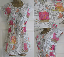 NEW EX WHITE STUFF WANDERING HERD PINK WHITE FLORAL SUMMER BLOUSE TOP SIZE 8-18