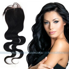 """10-24"""" Remy Body Wave 4""""x4"""" Full Lace Closure Center Part Human Hairpiece Toupee"""