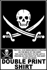 TRADITIONAL PIRATE SKULL & SWORDS ORIGINAL JOLLY ROGER FLAG STYLE T-SHIRT WS29D