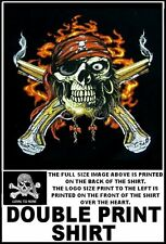 PIRATE SKULL WITH EYE PATCH CROSSED SMOKING PISTOLS LOYAL TO NONE T-SHIRT WS125D