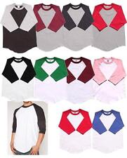 3/4 Sleeve S-3XL Plain BaseBall T-Shirts Raglan Jersey Tee Mens Womens 6 pieces