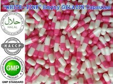 """WHITE-PINK""Empty Vegetable GELATIN Pill Capsules Size 1 (250mg)REFILLING POWDER"