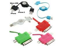 Sync Charge Micro USB iPhone 4s 4 iPhone 5 5S Compact Retractable Cable
