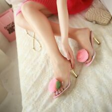 Sweet Women's Lady Transparent Floral High Heels Stiletto Slippers Sandals Shoes
