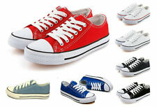 Men/Women's Low Help Sneakers Classic Lace Up Canvas Casual Flat Plimsoll Shoes