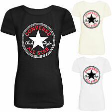 NEW LADIES WOMENS CASUAL SUMMER TOP T SHIRT CONVERSE ALL STAR PRINT SIZE 8-14