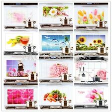 Aluminum Foil Oil Proof Wall Sticker Vegetables Flowers Decals Kitchen Decor LJN