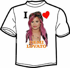 I LOVE DEMI LOVATO WHITE T SHIRT MENS LADIES KIDS  PRINTED TO ORDER