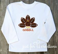 Boy Infant Toddler Football Thanksgiving Turkey LS Embroidered T-Shirt Gobble