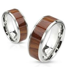 Stainless Steel Wedding Engagement Bridal Band With Wood Inlay Beveled Edge Ring