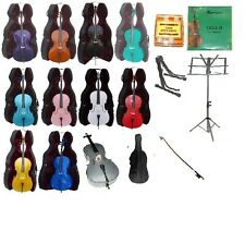 NEW CELLO,COLOR BOW,Hard Case,Carrying Soft Bag+2 Stands+Tuner+Rosin+Strings