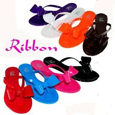 Women Shoes Sandals Ribbon Bow Flip Flops Thong Flat Slipper Jelly Shoes - SALE