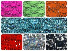 6mm Sequins on Bright Colorful Nylon Floral Lace Fabric