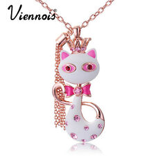 Viennois Fashion Jewelry Swarovski Crystal White/Red Cat Pendant Necklace Chain