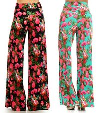 Wide Leg Fold Over High Waist Palazzo Flare Lounge Pants Summer Floral Print