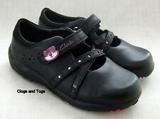 NEW CLARKS GIRLS MOLLY STAR BLACK LEATHER SHOES