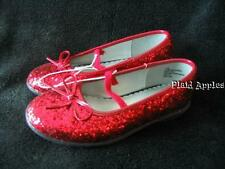 Red Glitter Shoes Girls Mary Janes Dorothy Sparkle 9 10 11 12 New