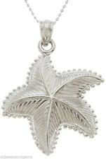 New 100% 0.925 Sterling Silver Starfish Sea Star Charm Pendant Necklace