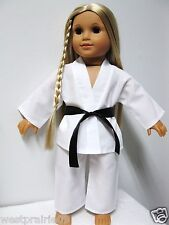 "American Girl Doll Clothes Handmade White Karate Uniform Gi One Belt 18"" Dolls"