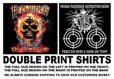 HELLRIDER RIDE WITH THE DEVIL BIKER MOTORCYCLE RIDER SKULL IN FLAMES T-SHIRT W5D