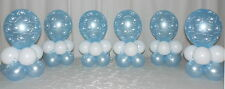 6 TABLE - CHRISTENING PARTY -  BABY BOY  - BALLOON DISPLAY - TABLE CENTREPIECE