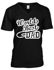 Worlds Best Dad Fathers Day Daddy Poppa Papa Gift Present Mens V-neck T-shirt