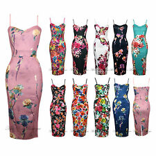 Womens Adjustable Strap Floral Print Summer Midi Stretch Bodycon Summer Dress