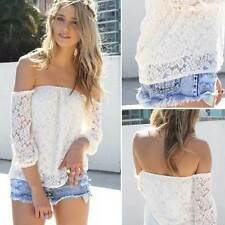 HOT Sexy Fashion Womens Lace Off-shoulder Blouse Tops Casual Loose T-Shirt S M L