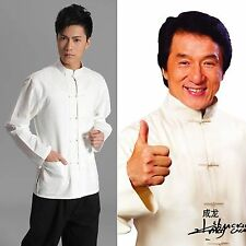 Traditional Chinese style Jackie Chan White Kung Fu Suit Tai Chi Shirt M-4XL