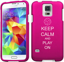 For Samsung Galaxy S4 S5 Rubber Hard Case Cover Keep Calm Play On Volleyball