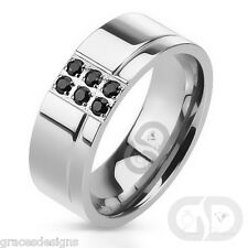Black Diamond Stainless Steel Men's Wedding Band 8mm classic engagement Ring