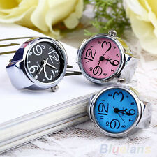 Womens Round Dial Quartz Analog Finger Watches Creative Steel Ring Elastic B7CU