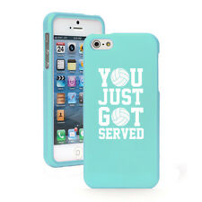 For iPhone 4 4S 5 5S 5c Light Blue Rubberized Case Just Got Served Volleyball