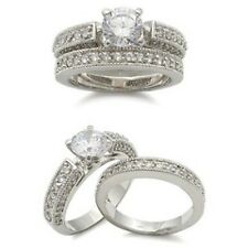 M5X016PB SOLITAIRE PAVE SET WEDDING & ENGAGEMENT RING SET BAND SET WOMENS