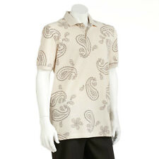 New Chaps by Ralph Lauren Men's Easy-Care Paisley Pique Polo Beige MSRP $50