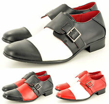 Mens Fancy Dress Spats Gangster Italian Brogue Formal Shoes Black White Red 6-12