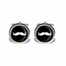 Comedy Novelty Stag Do, Birthday Moustache Cufflinks with Personalised Engraved