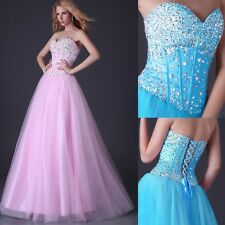 STOCK Beaded Tulle Wedding Bridesmaid Dress Long Prom Formal Party Evening Gowns
